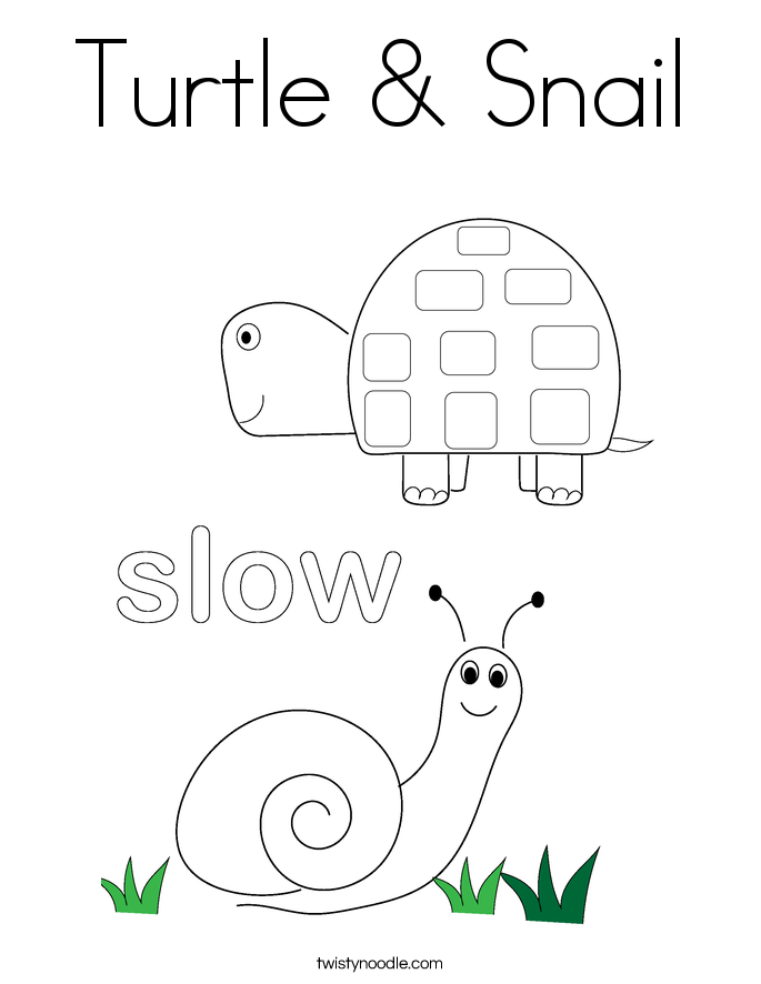 Turtle Snail Coloring Page Twisty Noodle