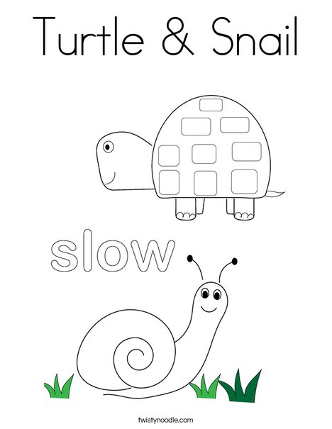 Turtle And Snail Coloring Page