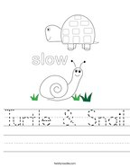 Turtle & Snail Handwriting Sheet