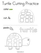 Turtle Cutting Practice Coloring Page