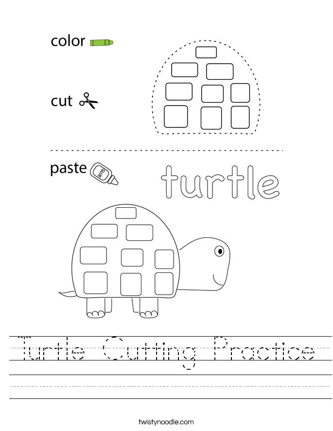 Turtle Cutting Practice Worksheet