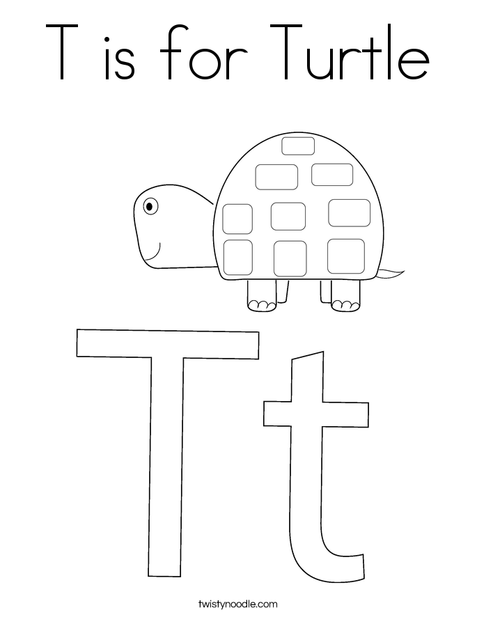 T is for Turtle Coloring Page - Twisty Noodle