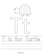 T is for Turtle Handwriting Sheet