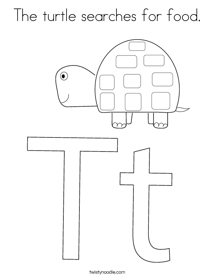 The turtle searches for food. Coloring Page