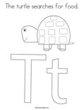The turtle searches for food.Coloring Page