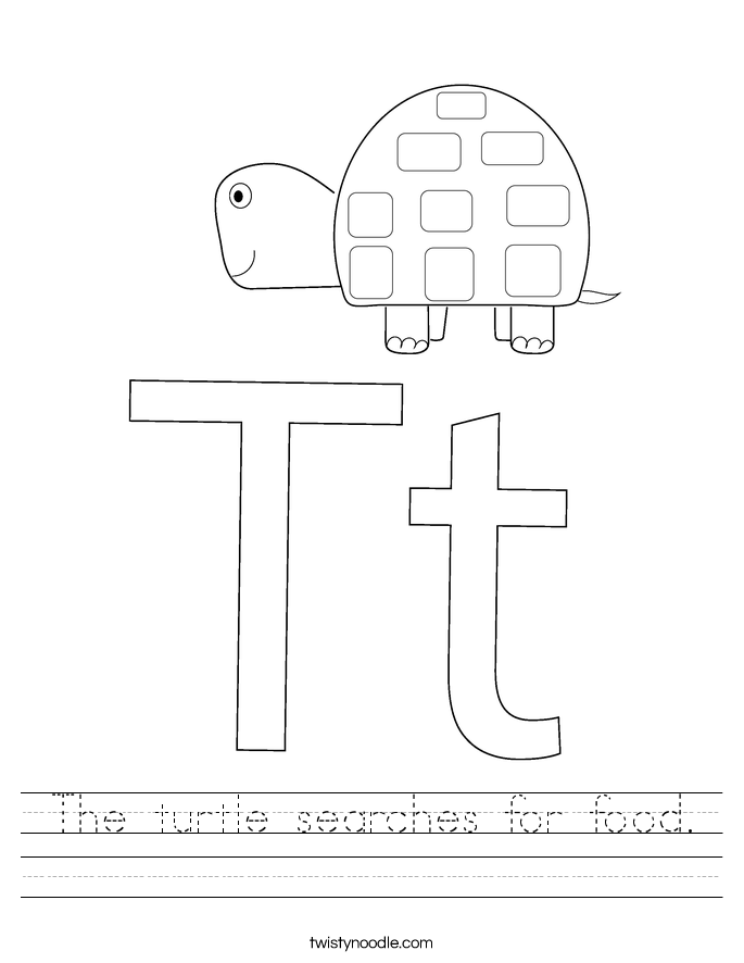 The turtle searches for food. Worksheet
