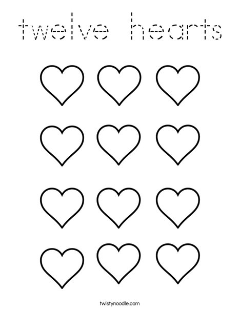 Twelve Hearts Coloring Page