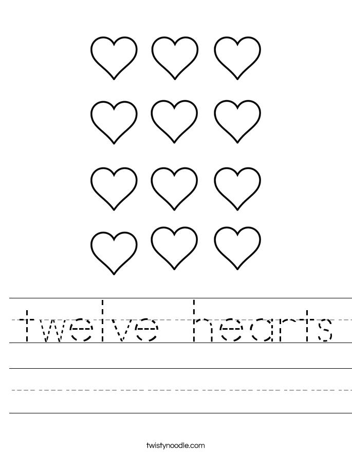 twelve hearts Worksheet