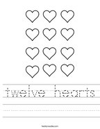 twelve hearts Handwriting Sheet
