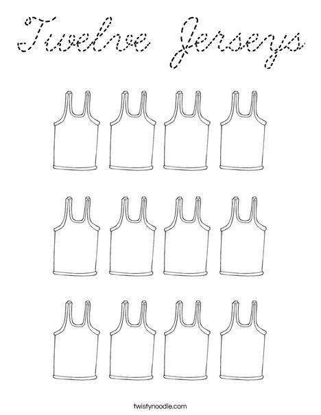 Twelve Jerseys Coloring Page