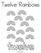 Twelve Rainbows Coloring Page