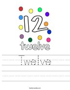 Twelve Handwriting Sheet