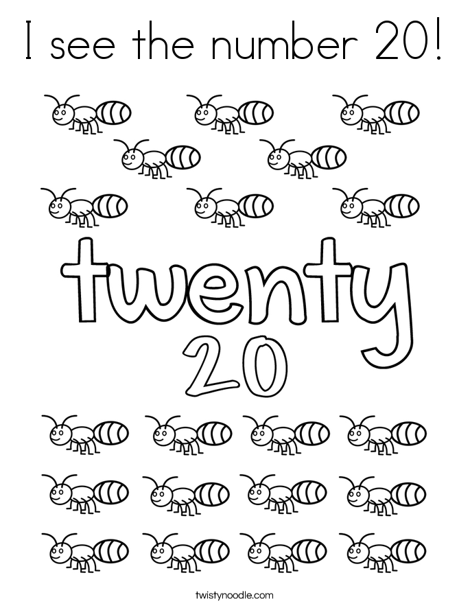 I See The Number 20 Coloring Page