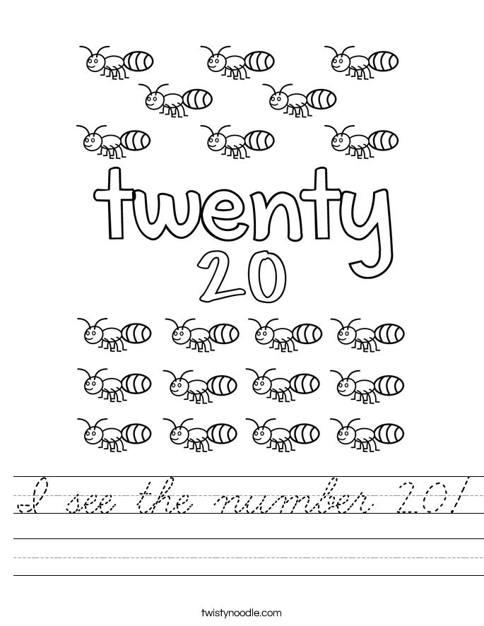 I see the number 20! Worksheet