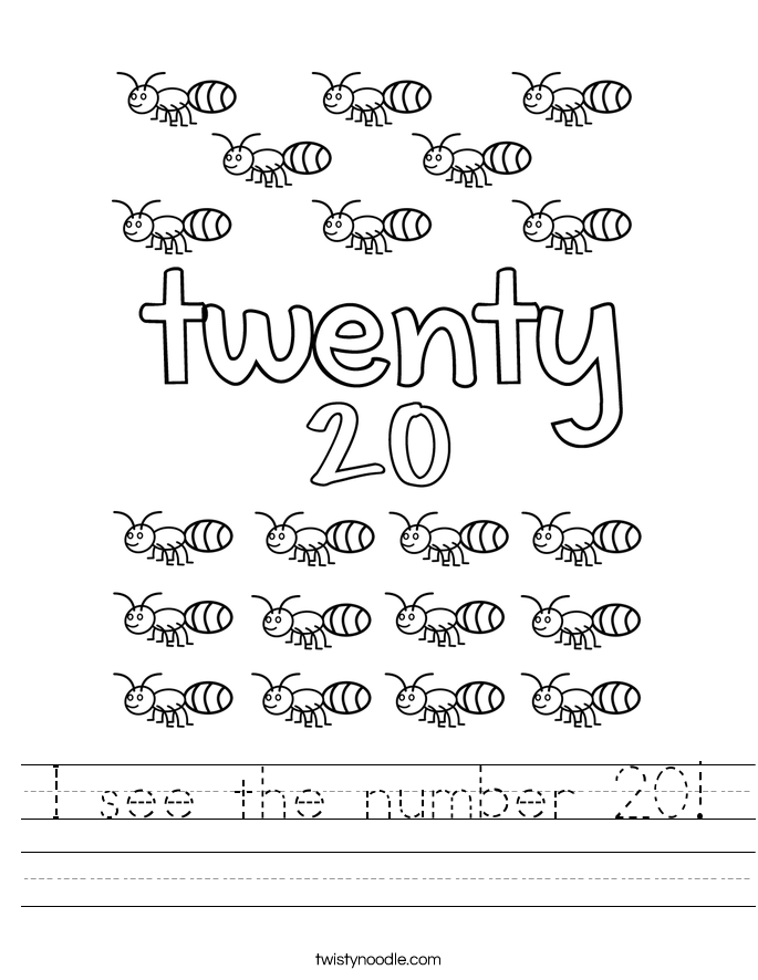 I see the number 20! Worksheet