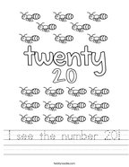 I see the number 20 Handwriting Sheet