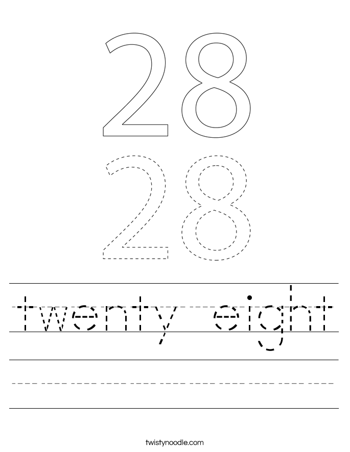 twenty eight Worksheet