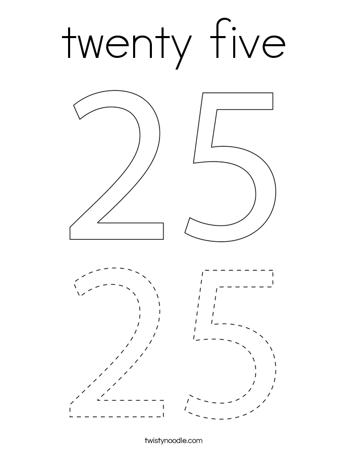 twenty five Coloring Page