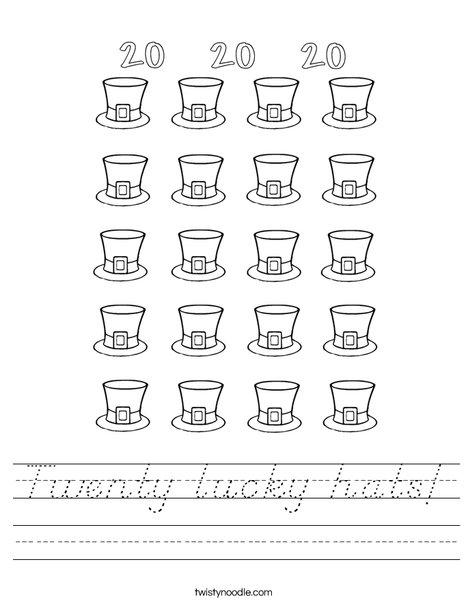 Twenty Leprechaun Hats! Worksheet