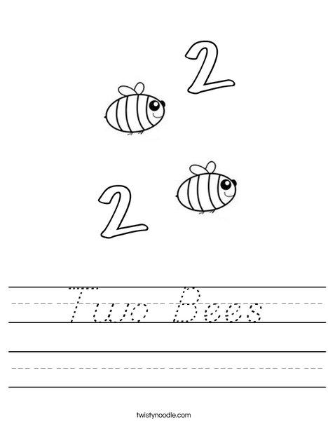 Two Bees Worksheet