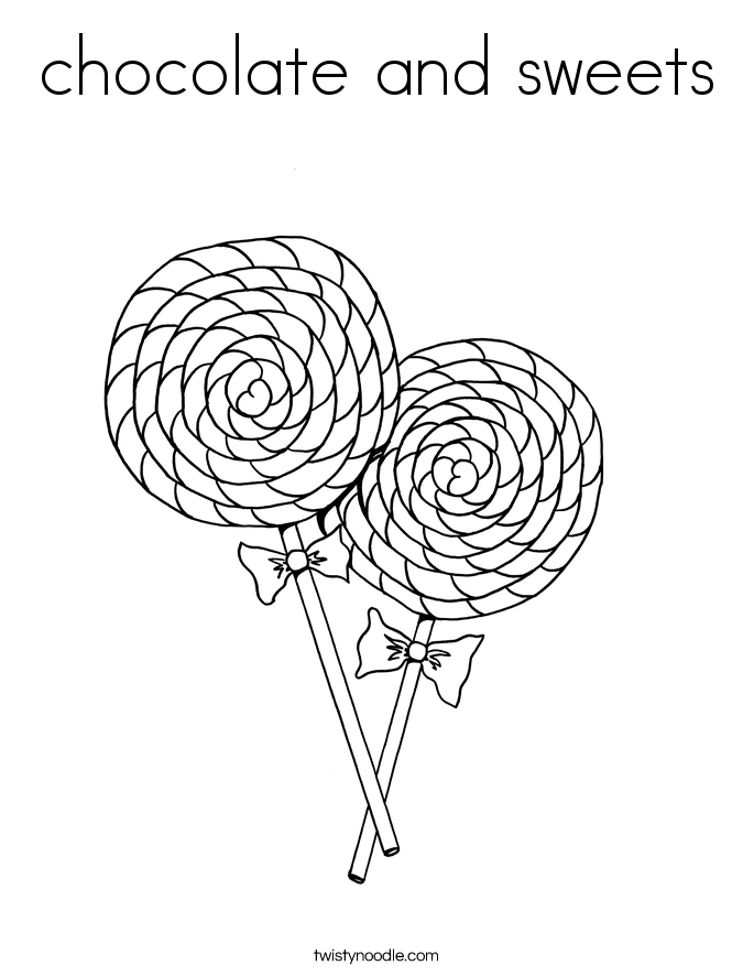 chocolate and sweets coloring page - Lollipop Coloring Pages Printable