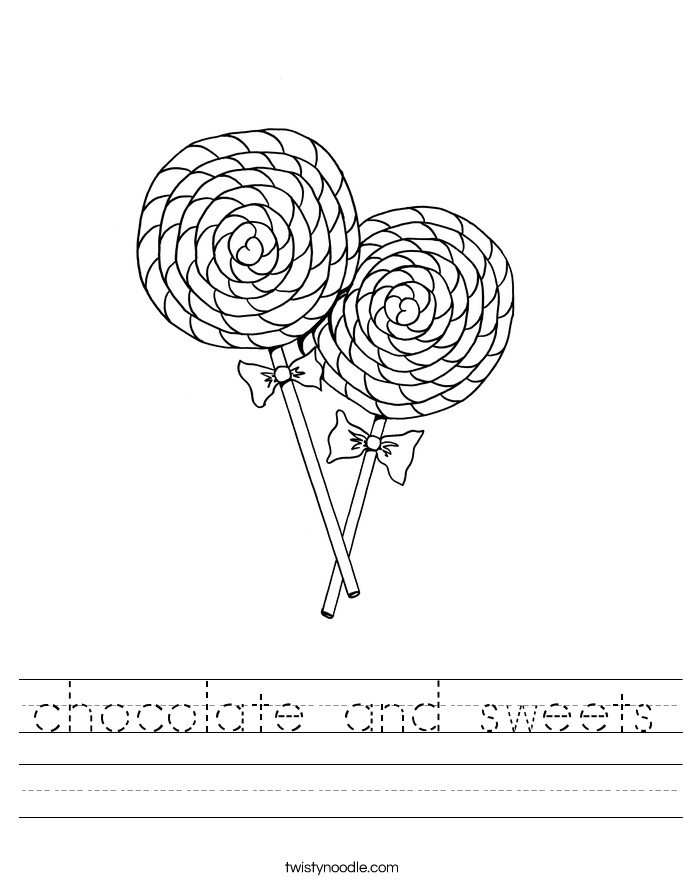 chocolate and sweets Worksheet