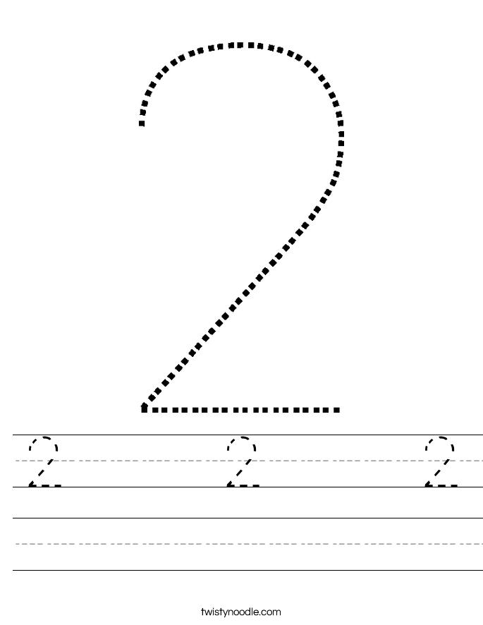 Tracing Numbers: 2 | Worksheet | Education.com