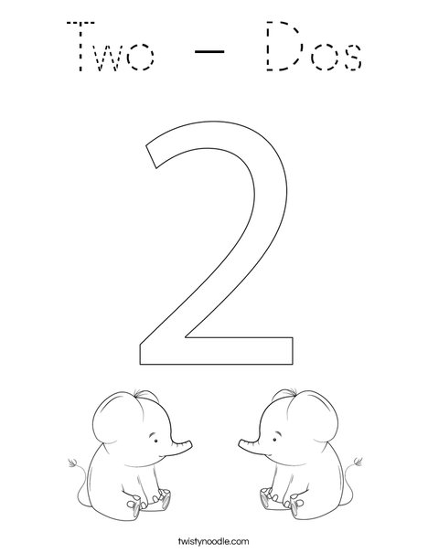 Elephant Two Coloring Page