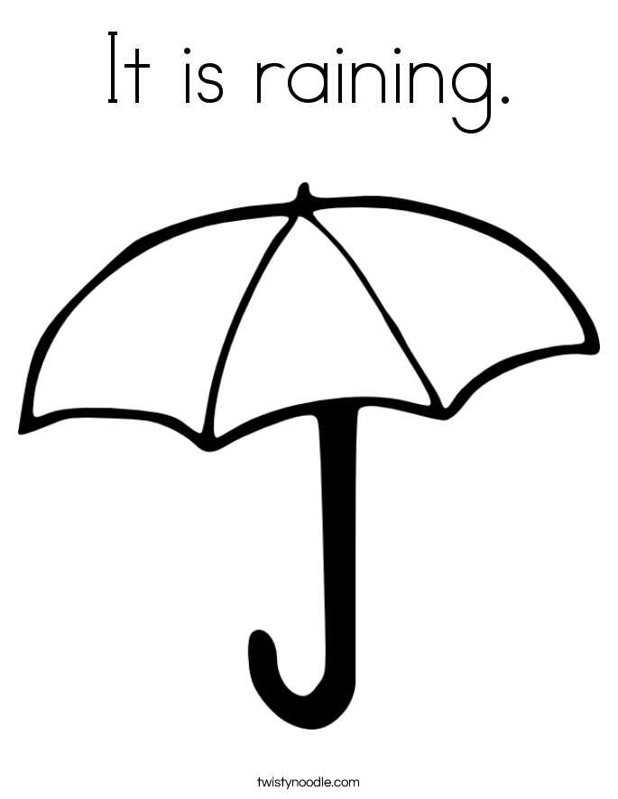 It is raining. Coloring Page