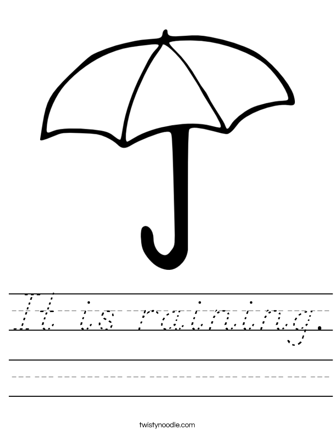 It is raining. Worksheet