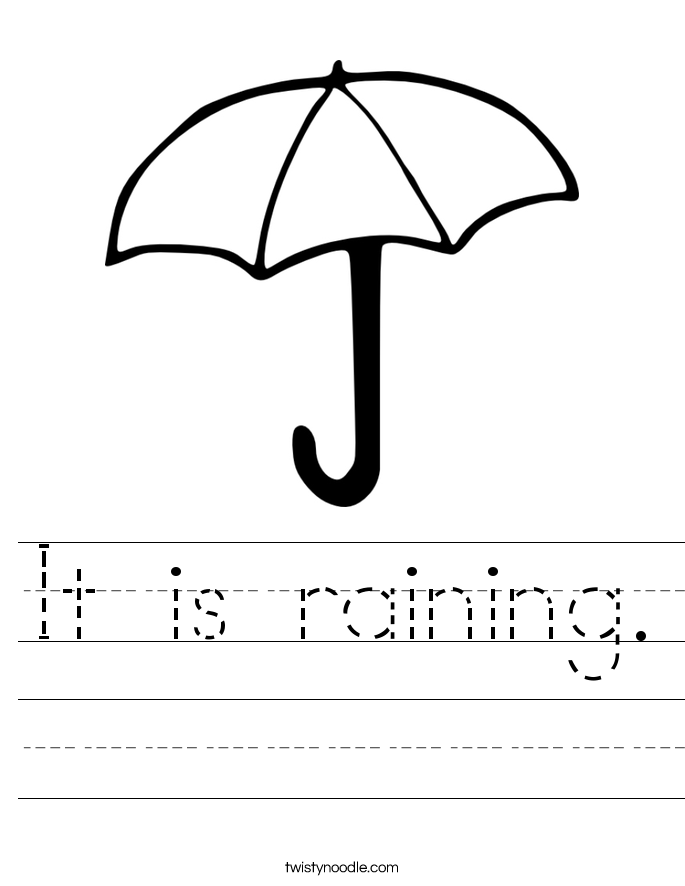 It is raining. Worksheet