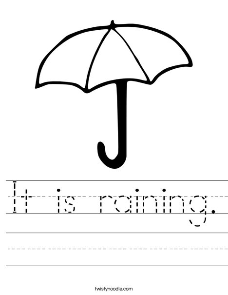U is for Umbrella Worksheet