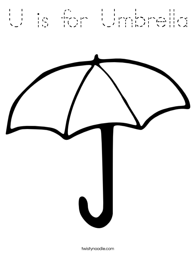 u is for umbrella coloring page tracing twisty noodle