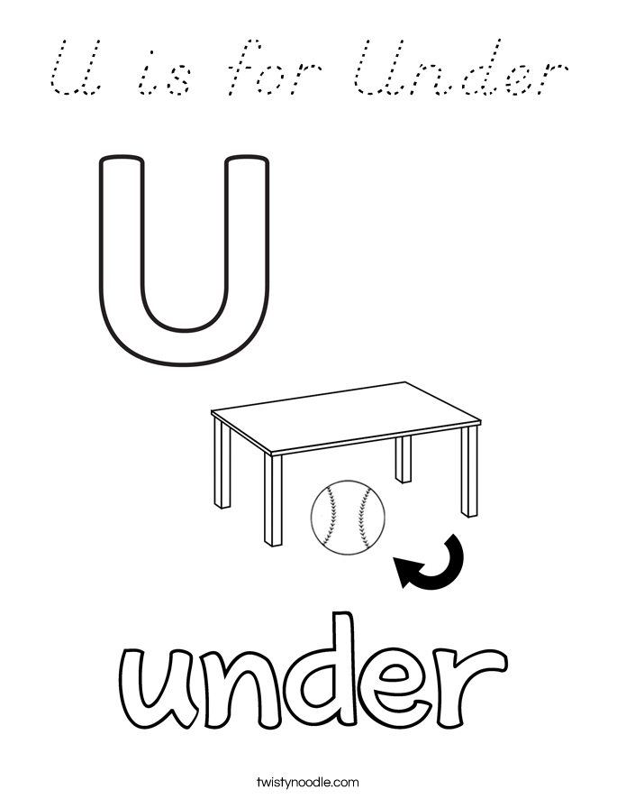 U is for Under Coloring Page