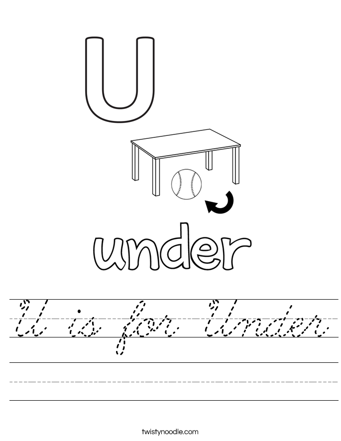 U is for Under Worksheet