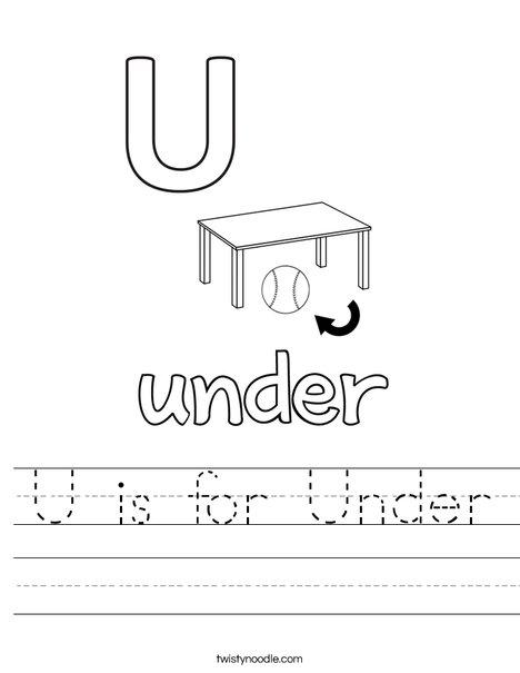 U is for Under Worksheet