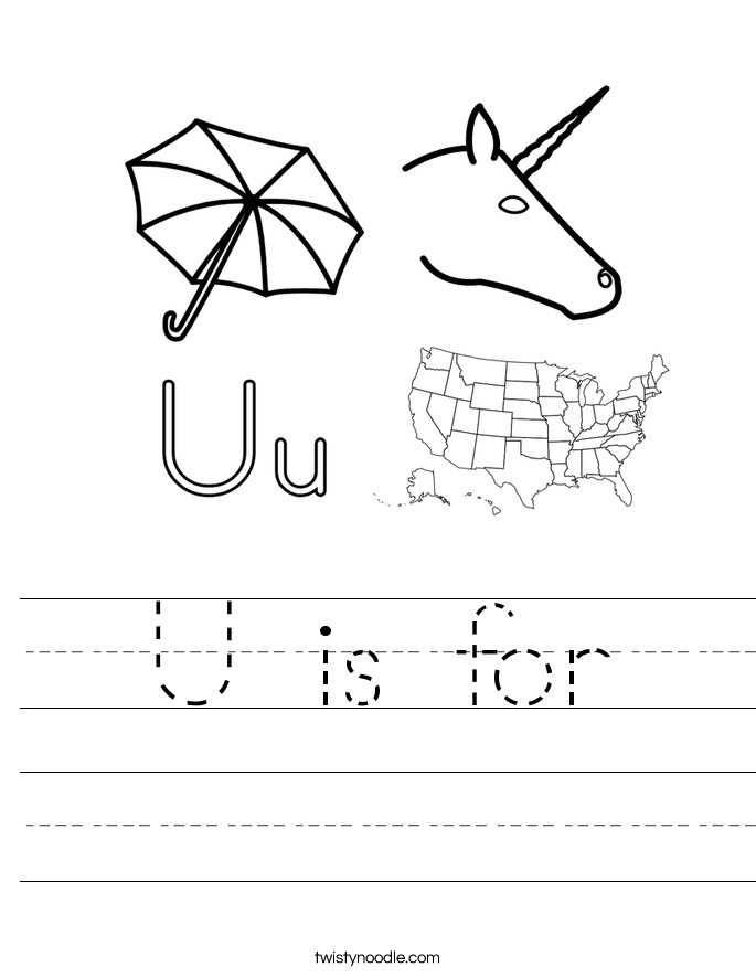 Letter U Worksheets Twisty Noodle – Letter U Worksheet