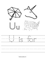 U is for Handwriting Sheet