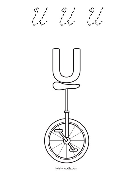 U Unicycle Coloring Page
