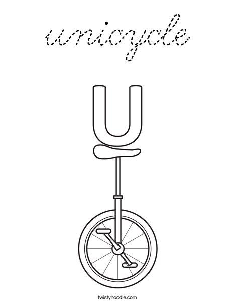 U Unicycle Coloring Page