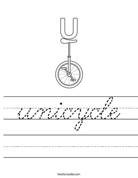 U Unicycle Worksheet