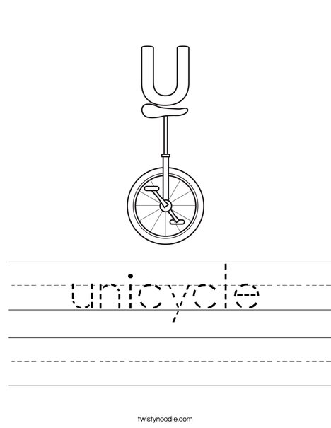 U Unicycle Worksheet