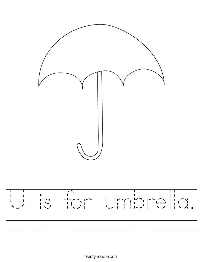 Is For Umbrella Worksheet Twisty Noodle