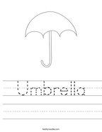Umbrella Handwriting Sheet