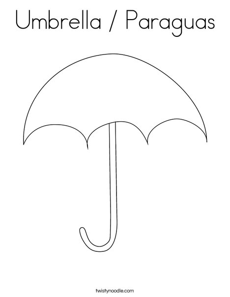 Umbrella / Paraguas Coloring Page - Twisty Noodle