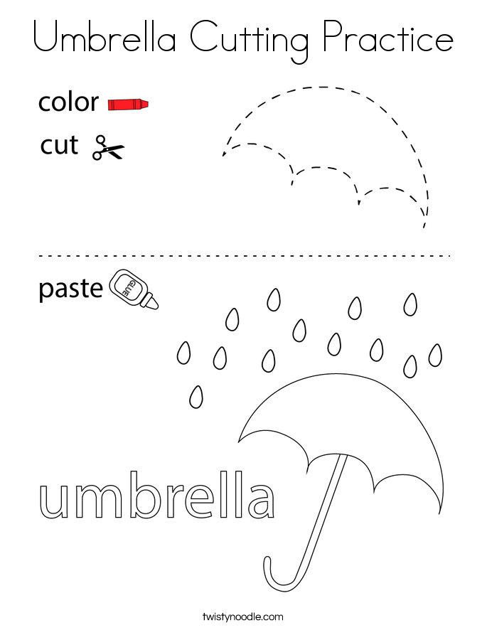 Umbrella Cutting Practice Coloring Page