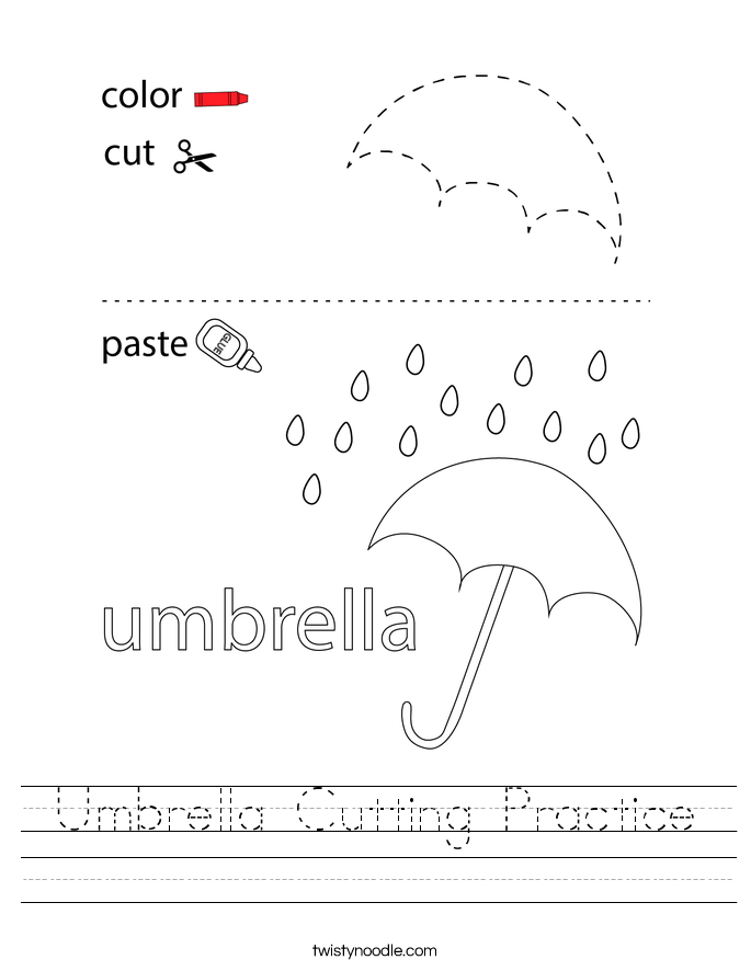 Umbrella Cutting Practice Worksheet