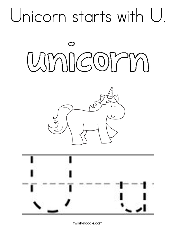 Unicorn starts with U. Coloring Page