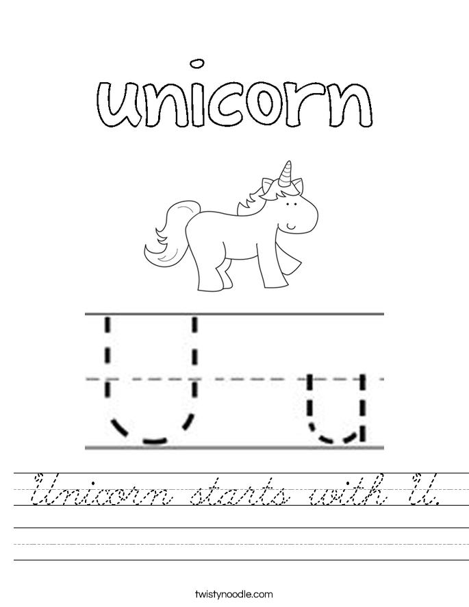 Unicorn starts with U. Worksheet