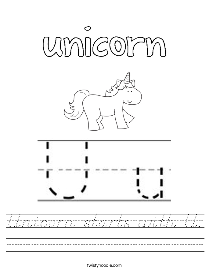 Unicorn starts with U. Worksheet